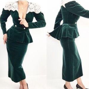 Vintage Edwardian Green Peplum Skirt Suit